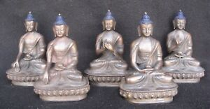 Antique Master Quality Handmade Copper 5 Dhyani Buddha Rupa Set, Nepal
