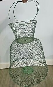 Vintage Maillinox Collapsible Metal Wire Mesh Fishing Bait Basket Made in France