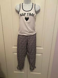 Body Touch White and black lounge pajama set top & pants Nap Time Medium