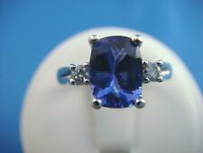 AMAZING, AAA 1.25 CT TANZANITE CUSHION CUT, ACCENTED BY DIAMONDS, HIGH END RING