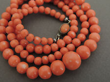 Natural MOMO Coral Bead Necklace NO Dye 38 Grams Sterling Clasp