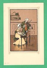 EARLY VINTAGE ETHEL PARKINSON ART POSTCARD LADY & GENT HARPSICHORD & VIOLIN