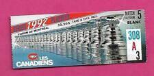 RARE 1992 CANADIENS MONTREAL PLAYOFFS  TICKET STUB (INV# D1441)