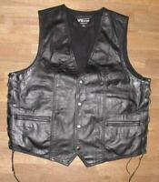 """ Vibrer "" Men's Lace-Up Leather Vest / Biker Vest / Vest Black XL Approx. 52"
