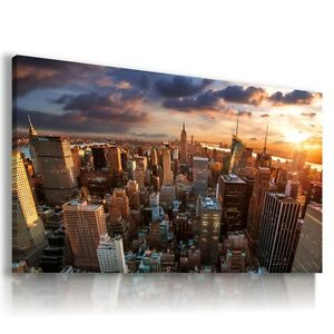NEW YORK CITY MANHATTAN SUNSET View Canvas Wall Art Picture   L77  MATAGA