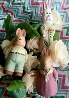 """Vintage Ceramic Easter Bunnies 🐰 Adorable Approximately 3"""" Long Lot/3 Preowned"""
