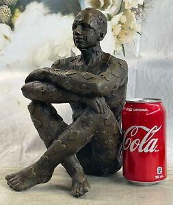"Salvador Dali Bronze Avec Marron Patine "" Poker Visage "" Figurine Sculpture"