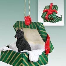 Bouvier des Flandres Cropped Ears Dog Green Gift Box Holiday Christmas Ornament