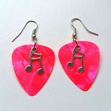 Pink Guitar Pick plectrum Music Earrings Jewellery 80s Glam Rock ear quaver note