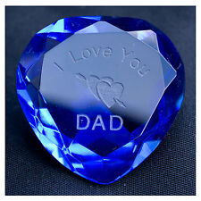 I LOVE YOU DAD crystal heart BLUE, FATHERS DAY, Birthday, Thank you gift - NEW