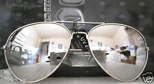 Aviator Sunglasses Large Reflective Silver Mirror Lenses Silver Frame
