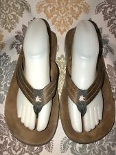 Cushe Men's Fresh Brown Leather Thong Signature Flip-Flops Sandals Size 10