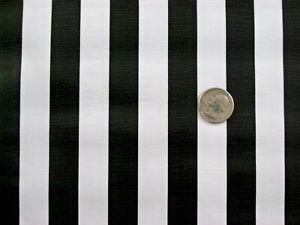 BLACK WHITE STRIPE CABANA RAIL JAIL REF DINING OILCLOTH VINYL TABLECLOTH 48x108