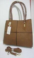 Borsa donna valigetta beige doppia maniglia o tracolla ecopelle lavorato