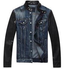 Mens boys Air Force moto biker leather sleeve denim collar jacket coat outwear