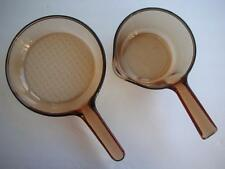 "2 Pans Amber Vision by Corning France 3 Cup Sauce Pan w/Pour Spout & 7"" Skillet"