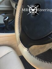 FITS VW TOUAREG MK1 02-10 BEIGE LEATHER STEERING WHEEL COVER BLACK DOUBLE STITCH