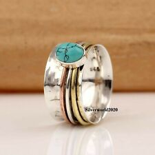 Turquoise Ring Spinner Ring 925 Sterling Silver Ring Handmade Size Q Ms119