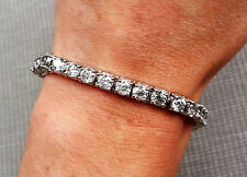 14.75 ctw F SI3/I1 round diamond 4 prong tennis bracelet 14k white gold 6.5""
