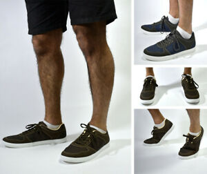 Mens New Canvas Flat Casual Lace Up Comfort Walking Trainer Shoes UK Sizes 6-11