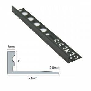 5 x Genesis PVC Straight Edge Tile Trim (8,10 & 12mm Depth) Black/ White & Grey