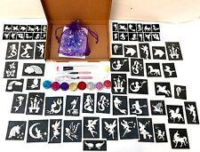 GLITTER TATTOO KIT MYSTICAL UNICORN RAINBOW FAIRY 90 large 60 mini stencils