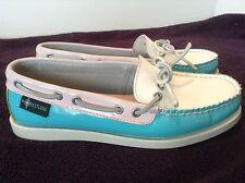 Eastland Womens Boat Shoes Size 6 Medium Yarmouth 1955 Aqua White Yellow Pink