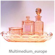 Toiletten Set rosa Glas Parfüm Flakon Schale und 2 Deckel Dosen Preßglas