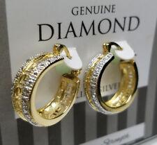GENUINE DIAMOND HOOP EARRINGS 18K GOLD GENUINE 925 STERLING SILVER >NEW<