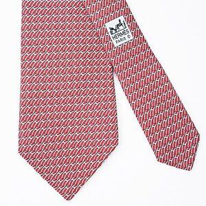 HERMES TIE 5469 FA Geometric H on Red Classic Silk Necktie