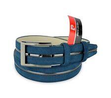 R003 Cintura regolabile Uomo Pierre Cardin in Pelle scamosciata Blu 120 cm