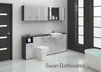 HACIENDA / LIGHT GREY GLOSS BATHROOM FITTED FURNITURE 2000MM WITH WALL UNITS