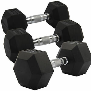 2X8-20KG Rubber Encased Dumbbell Hex Weights Gym Fitness/Workout/Weight Lifting