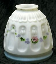 """Antique Glass Lamp Shade 2 1/4"""" Fitter Hand Painted Pattern Glass"""