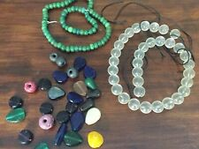MOD Vintage Round Frosted Clear Glass Bead Strands +Green Glass + Pressed Glass