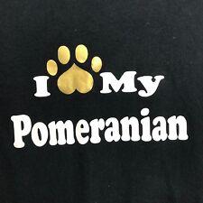 I Love My Pomeranian Black Dog Paw Print T Shirt L Large