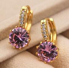 18K Gold Filled - 9mm Round Pink Rose Topaz Flower Zircon Hoop Women Earrings DS