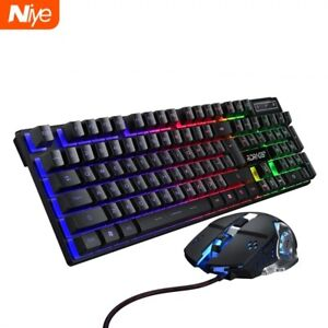 Gaming keyboard and Mouse Wired backlight mechanical feeling keyboard Gamer kit