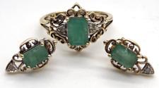 10k Yellow Gold Natural EMERALD Ring & Earrings Set--4g