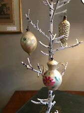 3 Antique Glass Christmas Ornaments Coffee Pot Pine Cone Almond Yule Holiday