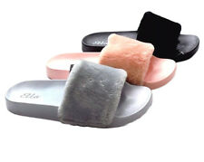 Womens Ladies Tito Fuax Fur Summer Mules Flip Flop Slip On Sandals Shoes UK3-8
