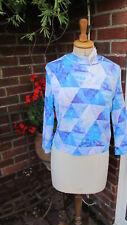 Blue colour block pixel prism TEXTILE FEDERATION crop sweatshirt TOP uk12 bnwt