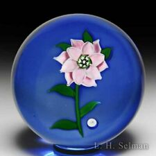 J Glass 1980 pink double clematis glass paperweight, by John Deacons