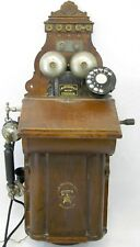 Antique LM Ericsson Swedish Oak Wall Rotary Telephone Phone