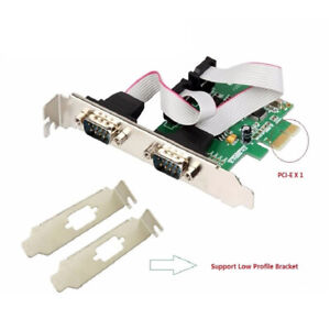IOCrest PCI-Express 2-Port RS232 Serial DB9 COM Port Card w/ Low Profile Bracket
