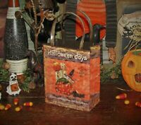Primitive Antique Vtg Style Retro Halloween Witch Jack o Lantern Bag Tin Bucket