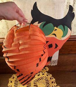 EXCEEDINGLY RARE Vintage Halloween Diecut Owl Lantern 2-Sided Decoration Germany