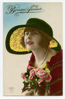 1920s Vintage BEAUTIFUL YOUNG LADY Pretty Sunhat lady hat tinted photo postcard