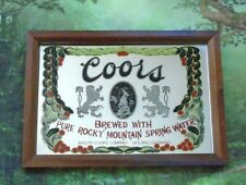 Vintage Coors Beer Golden Colorado Glass Mirror Bar Sign Wood Picture Frame