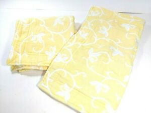 Lands End Home Yellow Vines Thick Cotton Standard Two Pillow Shams Bedroom EUC